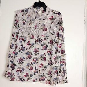 NWOT Ann Taylor Lace Flowery Blouse
